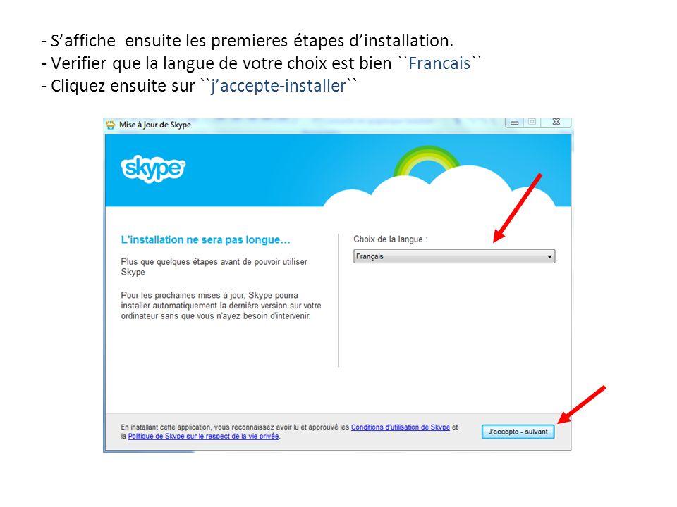 - S'affiche ensuite les premieres étapes d'installation. - Verifier que la langue de votre choix est bien ``Francais`` - Cliquez ensuite sur ``j'accep