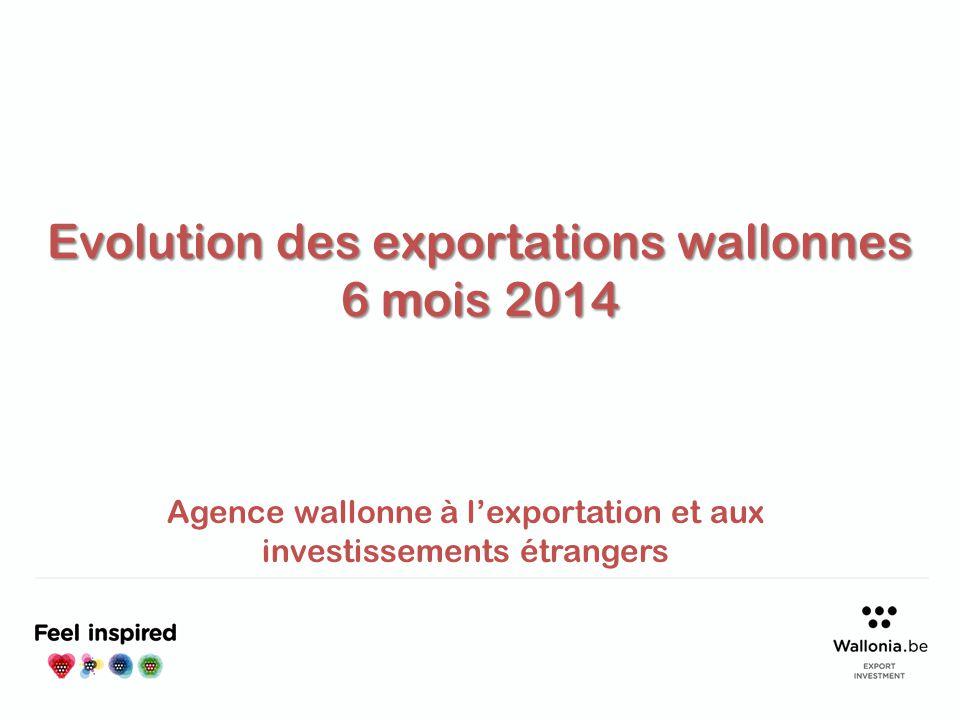 Evolution des exportations wallonnes 6 mois 2014 Agence wallonne à l'exportation et aux investissements étrangers