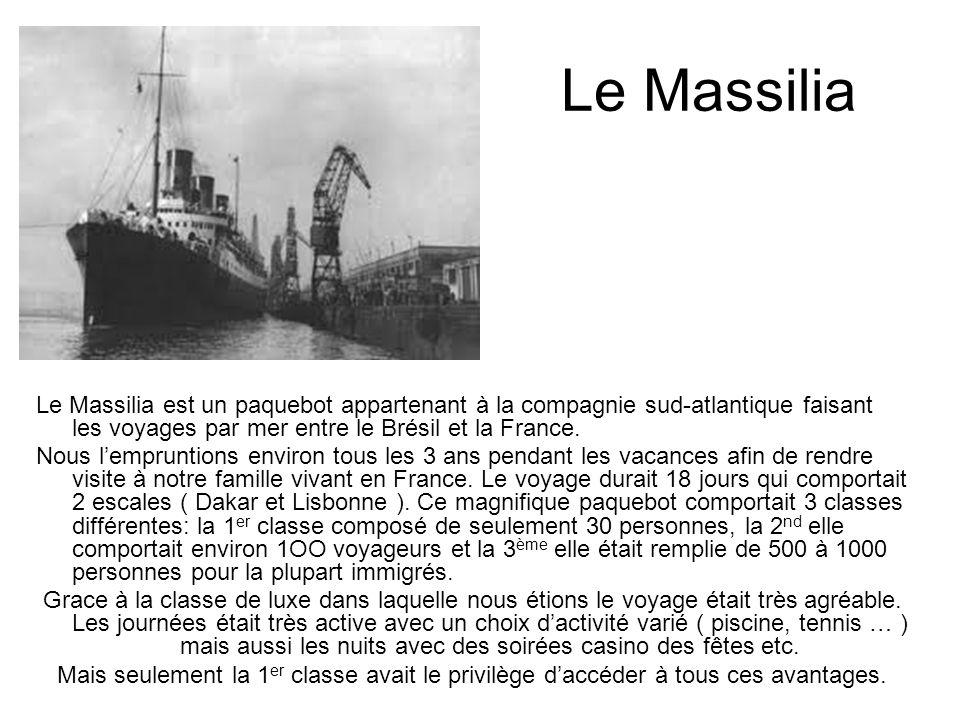 Le Massilia Le Massilia est un paquebot appartenant à la compagnie sud-atlantique faisant les voyages par mer entre le Brésil et la France. Nous l'emp