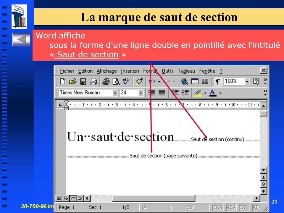 30-700-96 Introduction à l'informatique en gestion 20 La marque de saut de section Word affiche sous la forme d une ligne double en pointillé avec l intitulé « Saut de section »