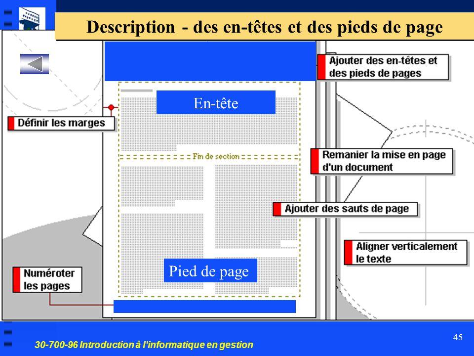 30-700-96 Introduction à l'informatique en gestion 45 Pied de page En-tête Description - des en-têtes et des pieds de page