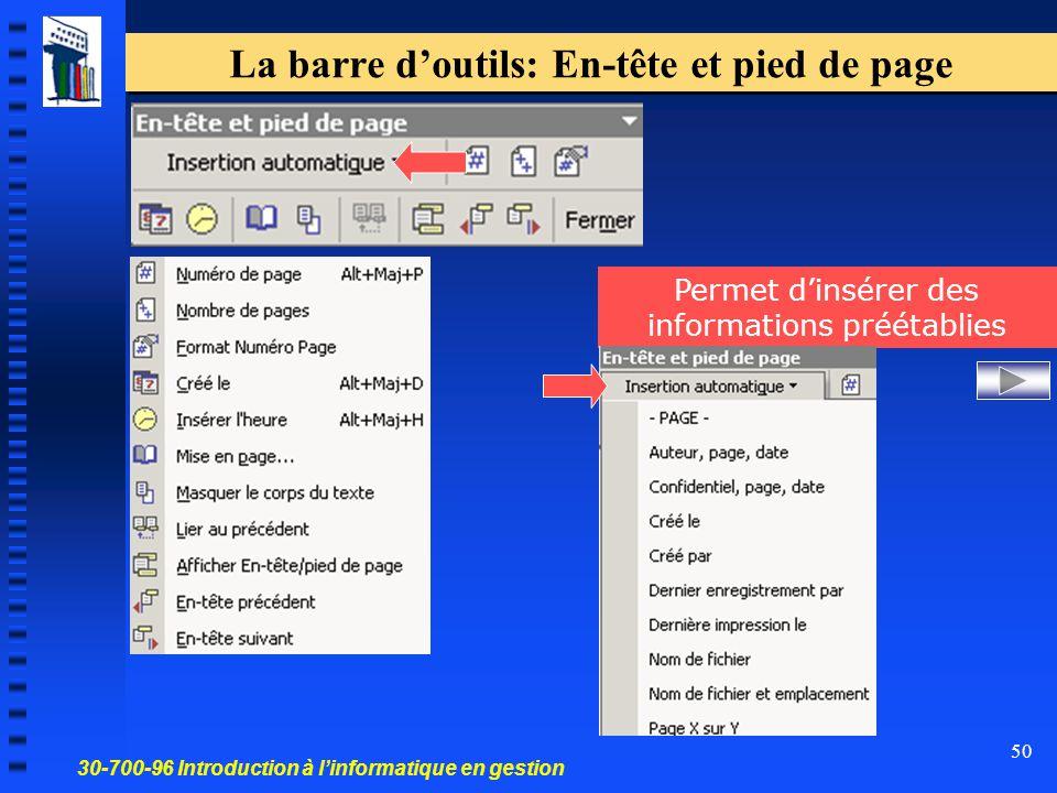 30-700-96 Introduction à l'informatique en gestion 50 La barre d'outils: En-tête et pied de page Permet d'insérer des informations préétablies