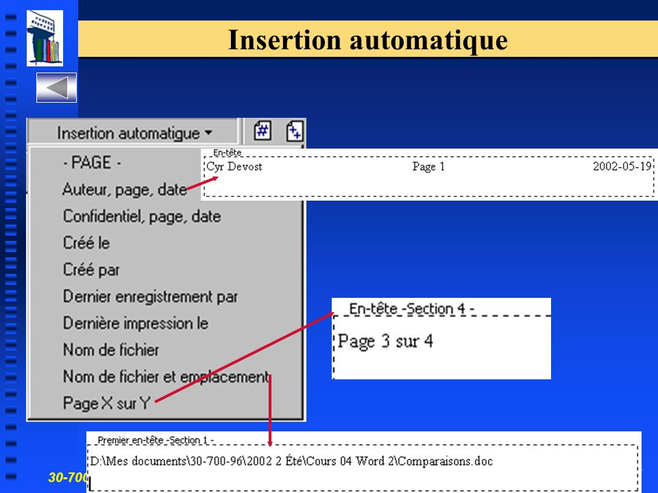 30-700-96 Introduction à l'informatique en gestion 52 Insertion automatique