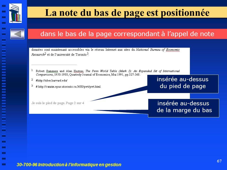 30-700-96 Introduction à l'informatique en gestion 67 La note du bas de page est positionnée dans le bas de la page correspondant à l'appel de note insérée au-dessus de la marge du bas insérée au-dessus du pied de page
