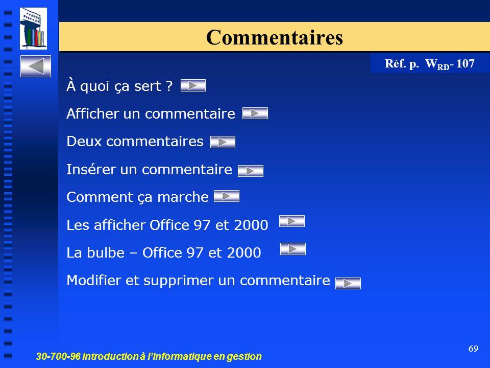 30-700-96 Introduction à l'informatique en gestion 69 Commentaires À quoi ça sert .