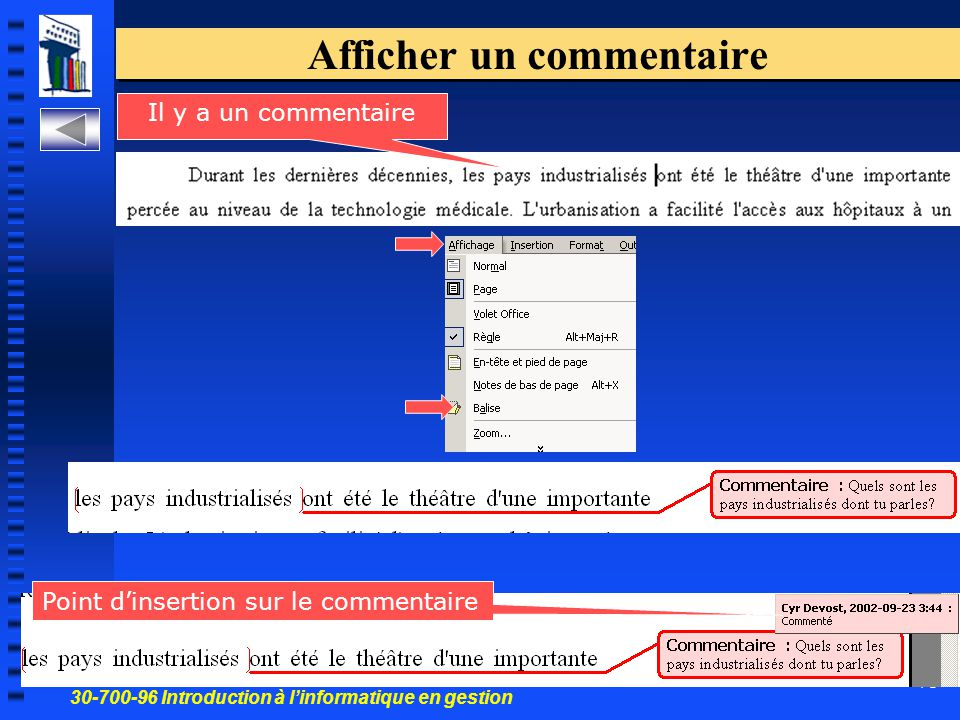 30-700-96 Introduction à l'informatique en gestion 71 Afficher un commentaire Il y a un commentaire Point d'insertion sur le commentaire