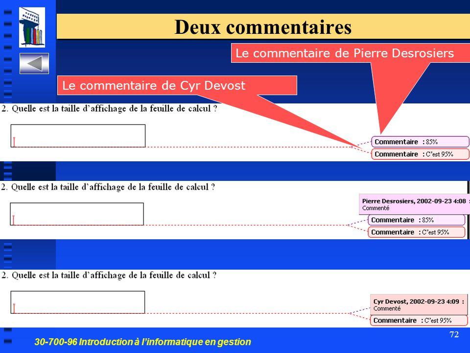30-700-96 Introduction à l'informatique en gestion 72 Deux commentaires Le commentaire de Pierre Desrosiers Le commentaire de Cyr Devost
