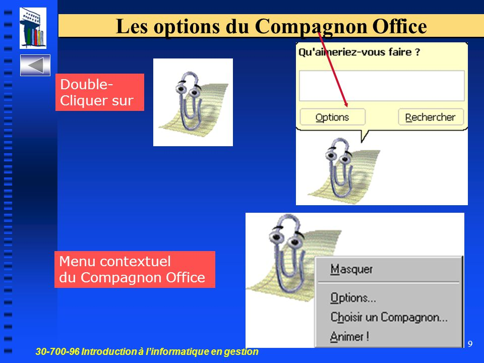 30-700-96 Introduction à l'informatique en gestion 9 Les options du Compagnon Office Double- Cliquer sur Menu contextuel du Compagnon Office