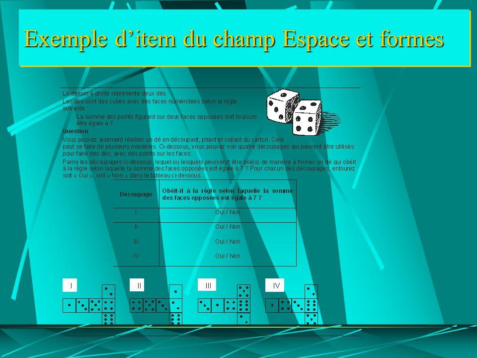 Exemple d'item du champ Espace et formes
