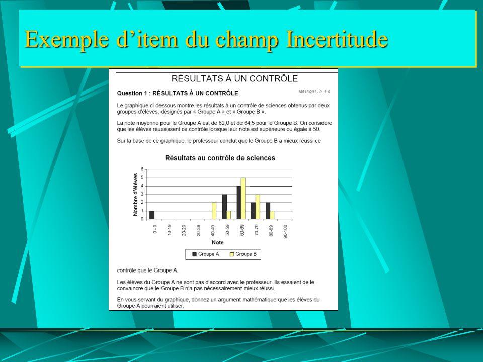 Exemple d'item du champ Incertitude