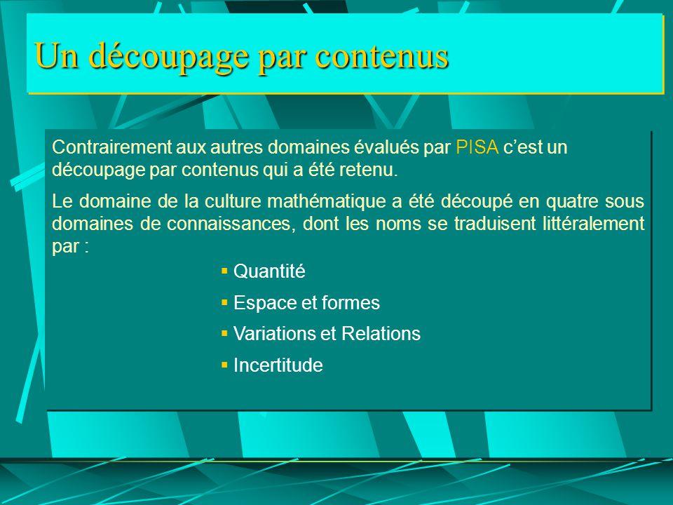 Un découpage par contenus Contrairement aux autres domaines évalués par PISA c'est un découpage par contenus qui a été retenu.