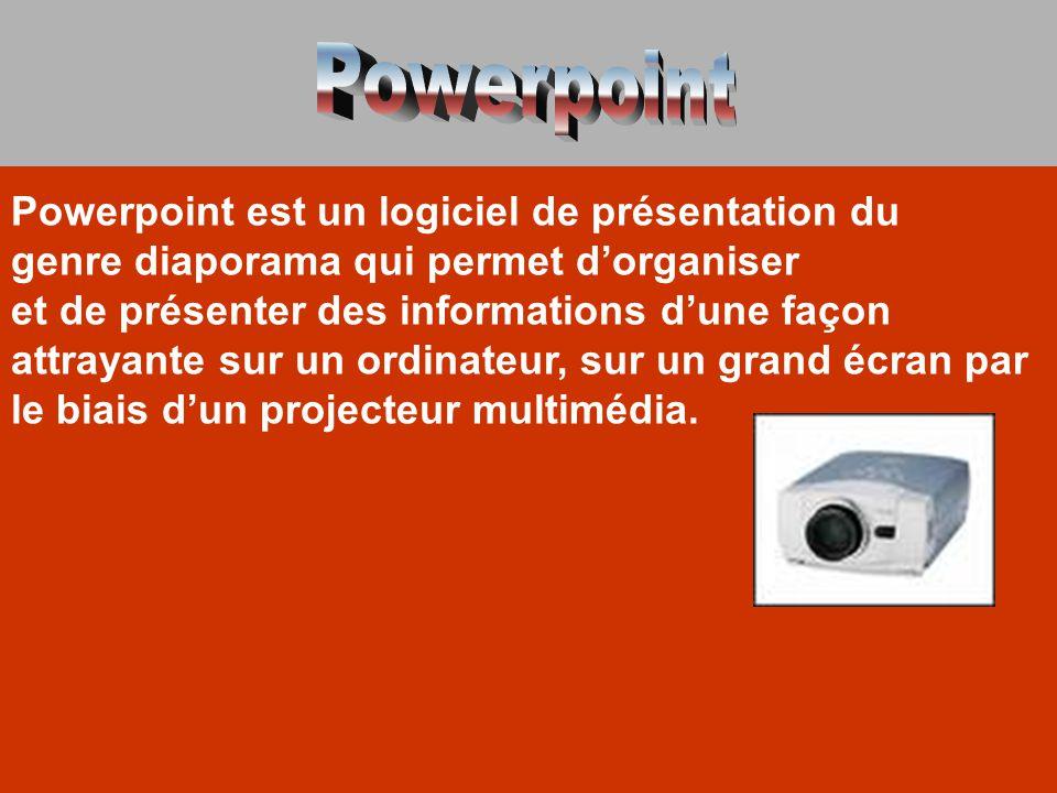 Powerpoint est un logiciel de présentation du genre diaporama qui permet d'organiser et de présenter des informations d'une façon attrayante sur un or