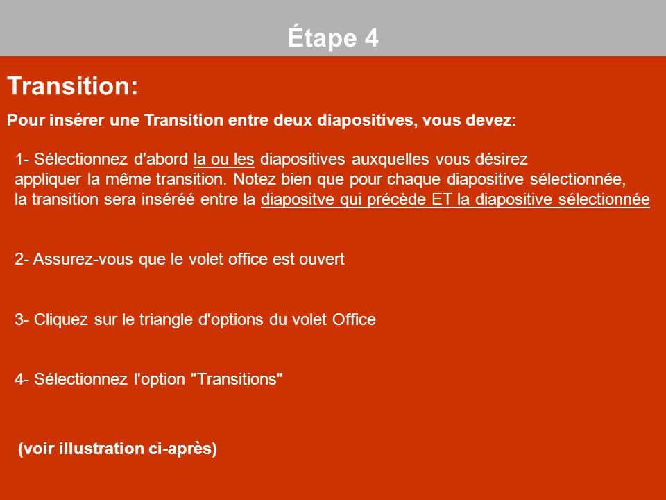 Transition: Pour insérer une Transition entre deux diapositives, vous devez: Étape 4 (1) 1- Sélectionnez d'abord la ou les diapositives auxquelles vou