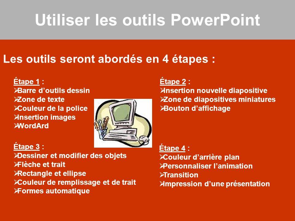 Les outils seront abordés en 4 étapes : Utiliser les outils PowerPoint Étape 1 :  Barre d'outils dessin  Zone de texte  Couleur de la police  Inse