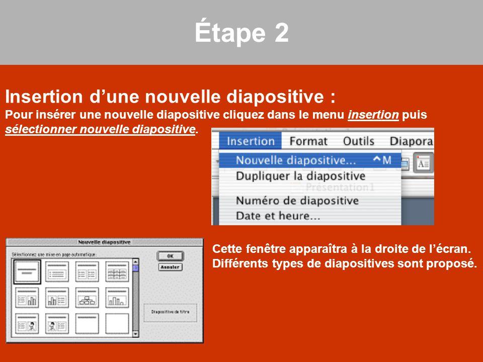 Insertion d'une nouvelle diapositive : Pour insérer une nouvelle diapositive cliquez dans le menu insertion puis sélectionner nouvelle diapositive. Ét