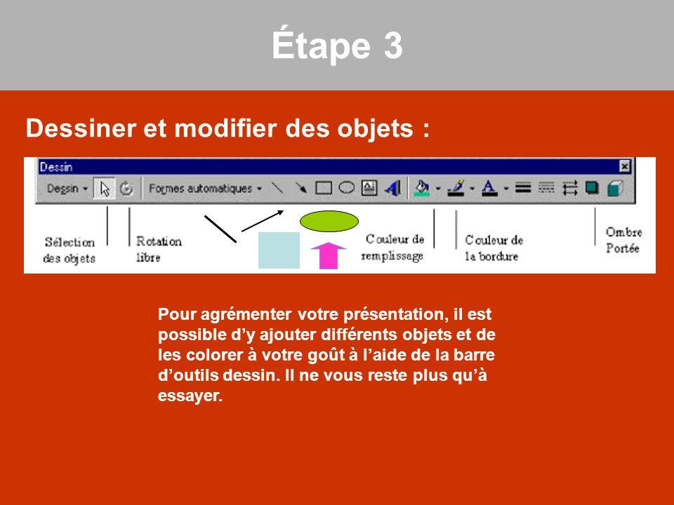 Étape 3 Dessiner et modifier des objets : Pour agrémenter votre présentation, il est possible d'y ajouter différents objets et de les colorer à votre