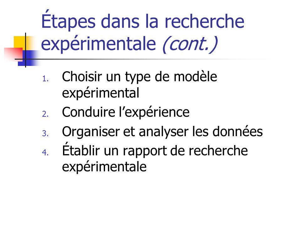 Étapes dans la recherche expérimentale (cont.) 1. Choisir un type de modèle expérimental 2.