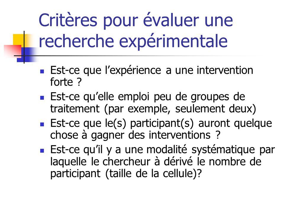 Critères pour évaluer une recherche expérimentale Est-ce que l'expérience a une intervention forte .
