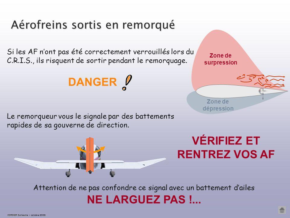 MANCHE AVANT Position haute F-COCO LARGUEZ IMMÉDIATEMENT ! pour détendre le câble Le planeur peut entraîner l'attelage dans un piqué incontrôlable. La