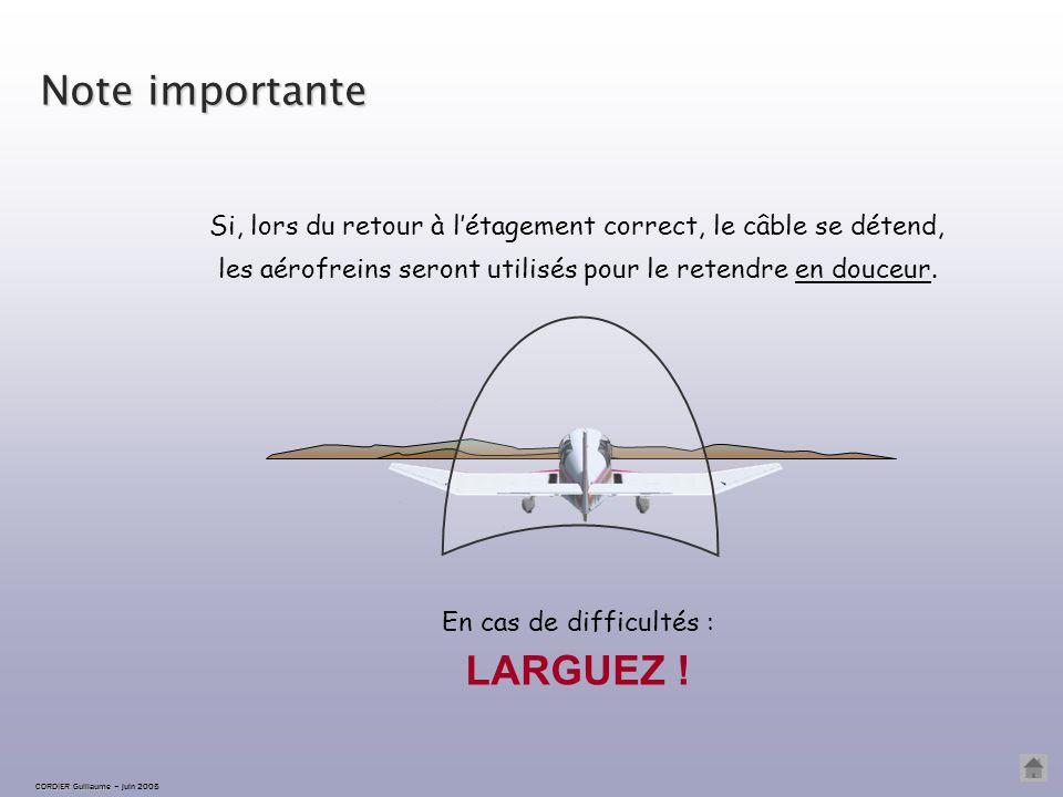 CORDIER Guillaume CORDIER Guillaume – juin 2005 Étagement haut correction L'avion est de nouveau sur la ligne d'horizon : on maintient l'assiette cons