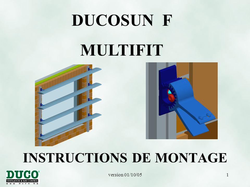 version 01/10/0532 DUCOSUN F – MULTIFIT PLUS LARGE Montage de la fourche sur la base Multifit.