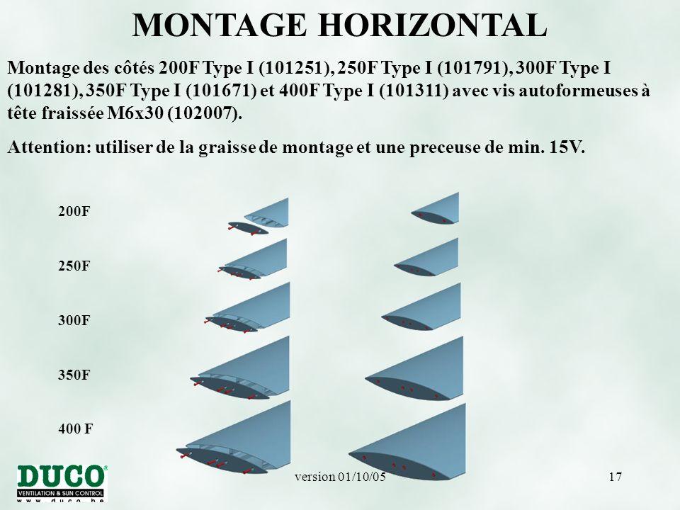 version 01/10/0517 200F 250F 300F 350F 400 F MONTAGE HORIZONTAL Montage des côtés 200F Type I (101251), 250F Type I (101791), 300F Type I (101281), 350F Type I (101671) et 400F Type I (101311) avec vis autoformeuses à tête fraissée M6x30 (102007).