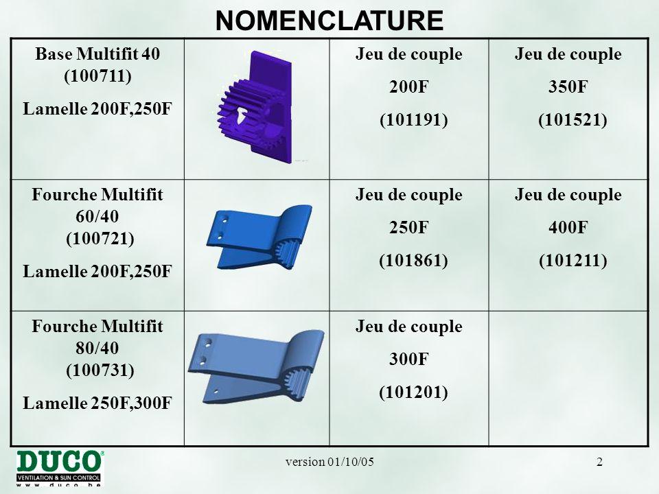 version 01/10/0513 MONTAGE HORIZONTAL La Fourche Multifit 60/40 (100721) ou Fourche Multifit 80/40 (100731) est placée sur la Base Multifit.