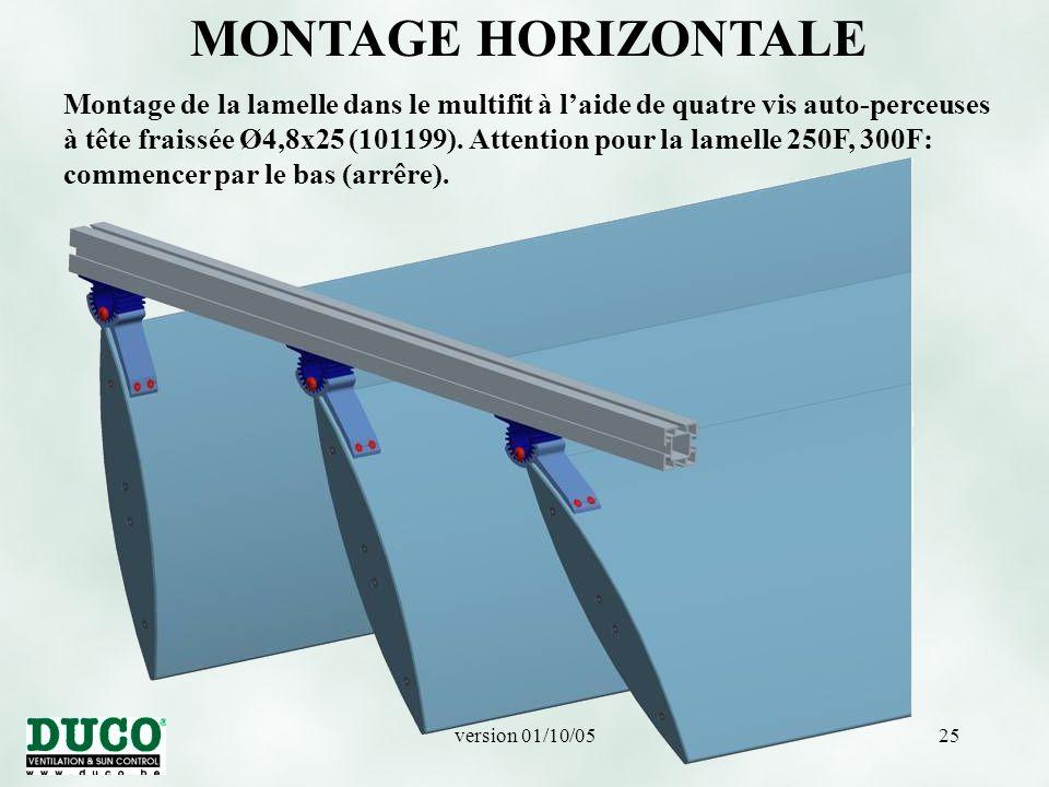 version 01/10/0525 MONTAGE HORIZONTALE Montage de la lamelle dans le multifit à l'aide de quatre vis auto-perceuses à tête fraissée Ø4,8x25 (101199).