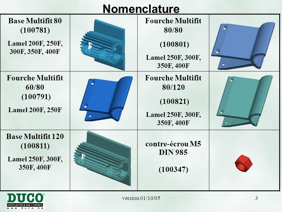 version 01/10/0544 Jonction des lamelles 250F, 300F, 350F et 400F ATTENTION: au montage: respecter un jeu de dilatation.