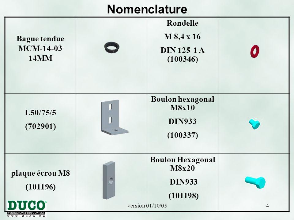 version 01/10/0545 INSTRUCTION DE MONTAGE VERTICAL DUCOSUN F MULTIFIT