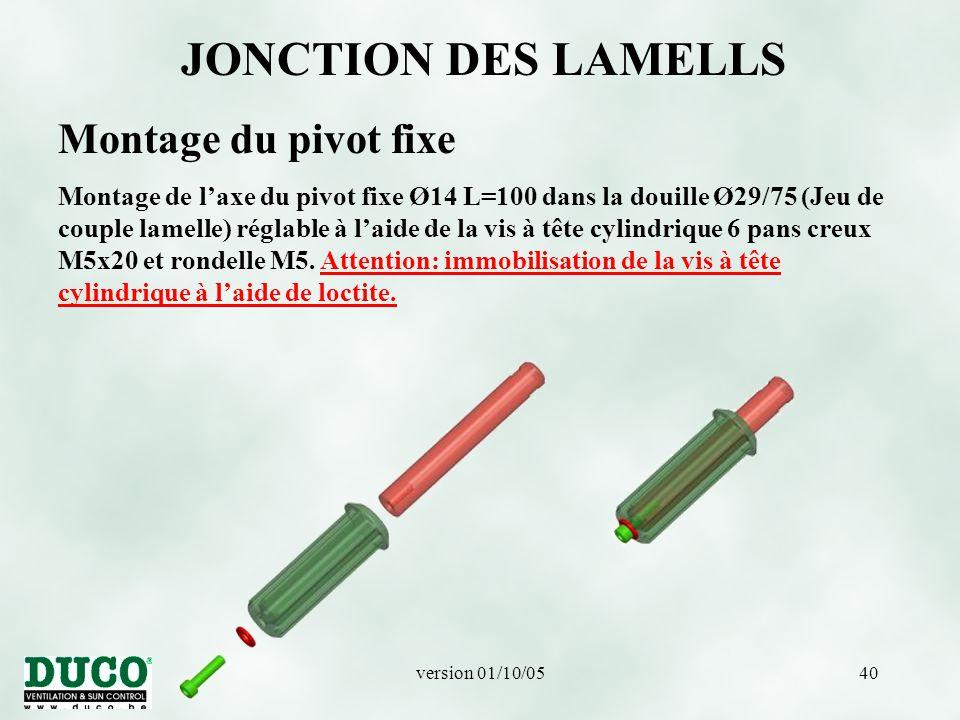 version 01/10/0540 JONCTION DES LAMELLS Montage du pivot fixe Montage de l'axe du pivot fixe Ø14 L=100 dans la douille Ø29/75 (Jeu de couple lamelle) réglable à l'aide de la vis à tête cylindrique 6 pans creux M5x20 et rondelle M5.