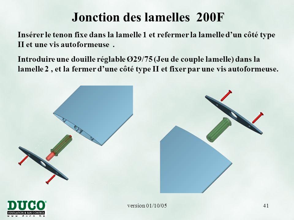 version 01/10/0541 Jonction des lamelles 200F Insérer le tenon fixe dans la lamelle 1 et refermer la lamelle d'un côté type II et une vis autoformeuse.