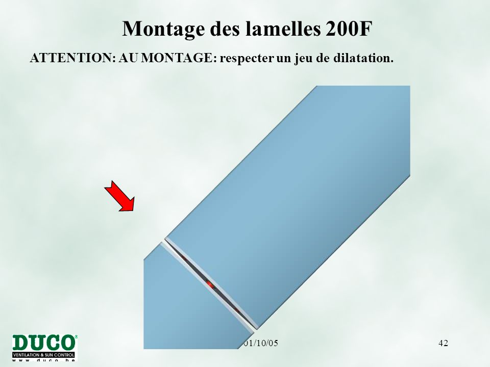 version 01/10/0542 Montage des lamelles 200F ATTENTION: AU MONTAGE: respecter un jeu de dilatation.