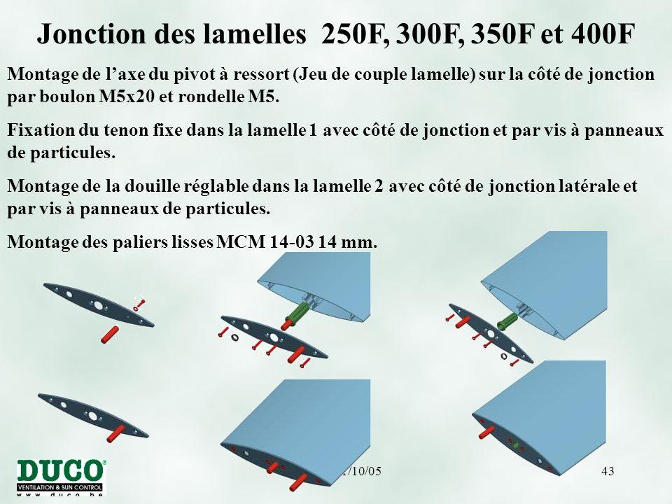 version 01/10/0543 Jonction des lamelles 250F, 300F, 350F et 400F Montage de l'axe du pivot à ressort (Jeu de couple lamelle) sur la côté de jonction par boulon M5x20 et rondelle M5.