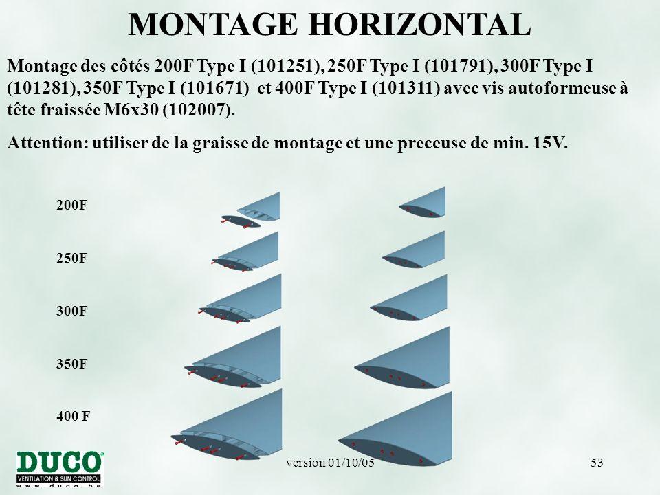 version 01/10/0553 200F 250F 300F 350F 400 F MONTAGE HORIZONTAL Montage des côtés 200F Type I (101251), 250F Type I (101791), 300F Type I (101281), 350F Type I (101671) et 400F Type I (101311) avec vis autoformeuse à tête fraissée M6x30 (102007).