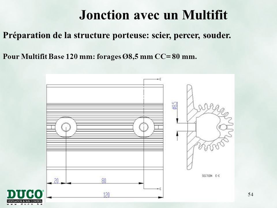 version 01/10/0554 Pour Multifit Base 120 mm: forages Ø8,5 mm CC= 80 mm.