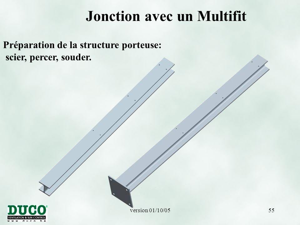 version 01/10/0555 Jonction avec un Multifit Préparation de la structure porteuse: scier, percer, souder.