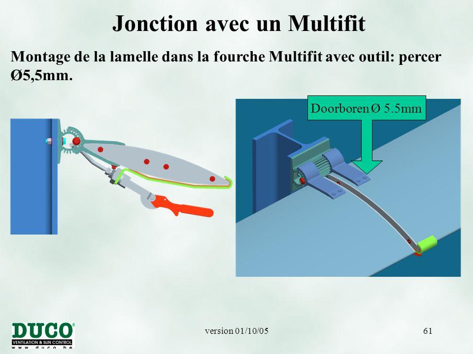 version 01/10/0561 Jonction avec un Multifit Montage de la lamelle dans la fourche Multifit avec outil: percer Ø5,5mm.
