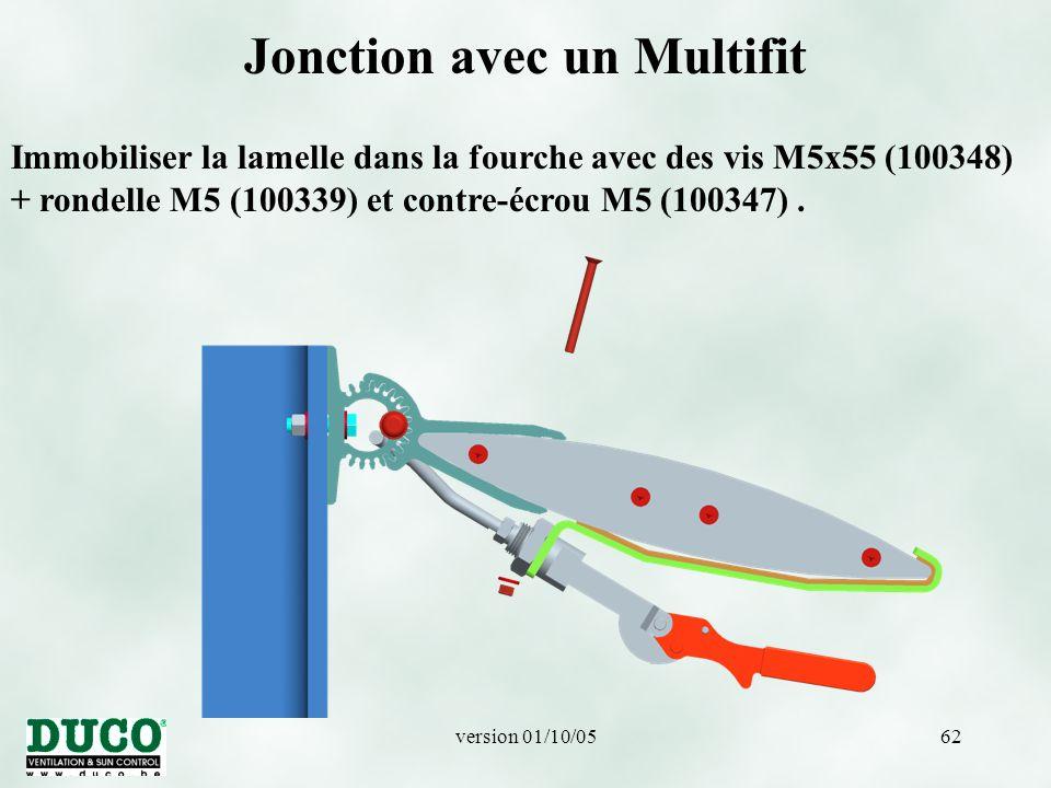 version 01/10/0562 Jonction avec un Multifit Immobiliser la lamelle dans la fourche avec des vis M5x55 (100348) + rondelle M5 (100339) et contre-écrou M5 (100347).