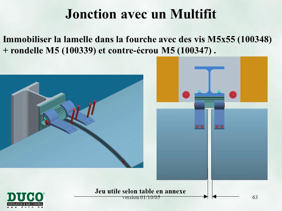 version 01/10/0563 Jonction avec un Multifit Immobiliser la lamelle dans la fourche avec des vis M5x55 (100348) + rondelle M5 (100339) et contre-écrou M5 (100347).