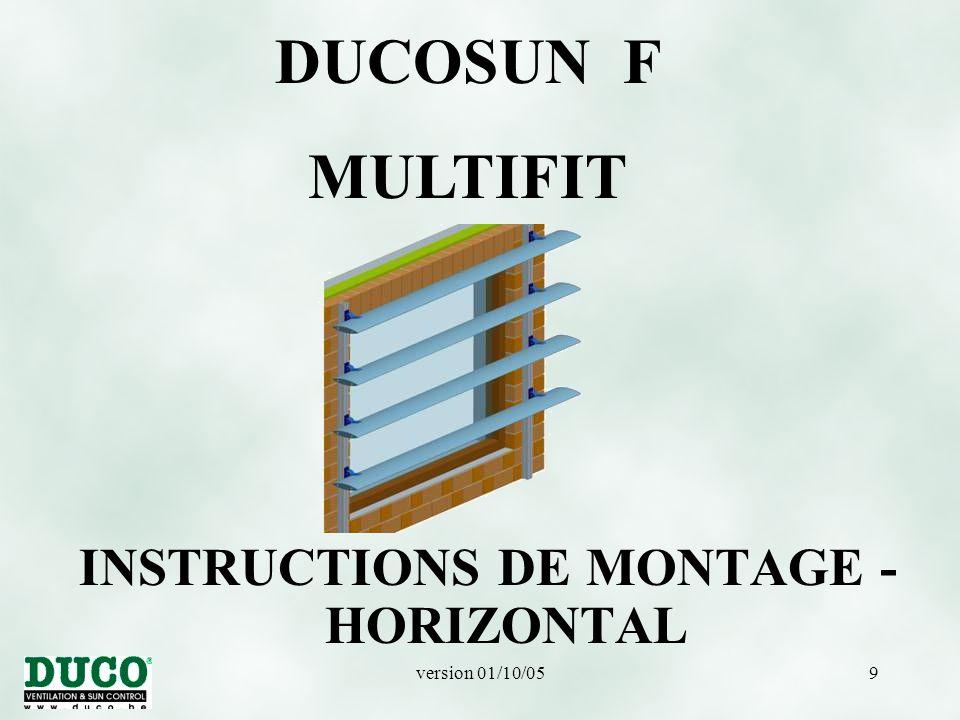version 01/10/0510 MONTAGE HORIZONTAL Montage L50/75/5 inférieur avec boulon hexagonal M8x70 (101209), rondelle M8 (100346) et contre-écrou M8 (100312).