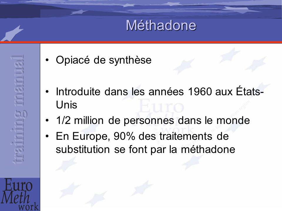 Méthadone Opiacé de synthèse Introduite dans les années 1960 aux États- Unis 1/2 million de personnes dans le monde En Europe, 90% des traitements de substitution se font par la méthadone