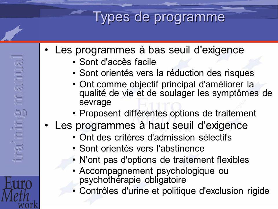 Types de programme Les programmes à bas seuil d'exigence Sont d'accès facile Sont orientés vers la réduction des risques Ont comme objectif principal
