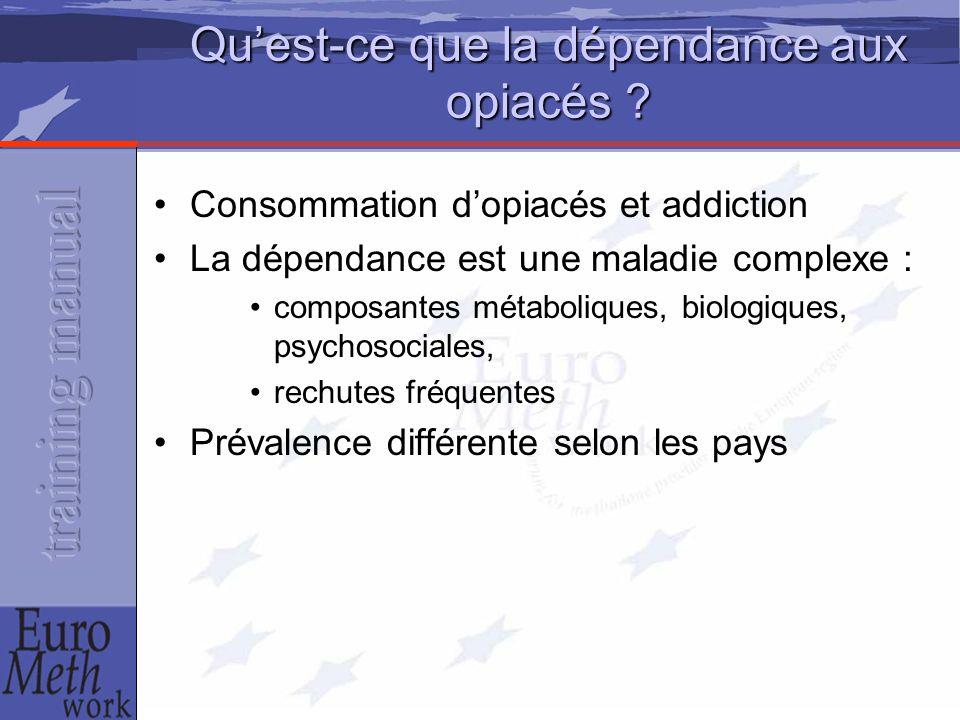 Qu'est-ce que la dépendance aux opiacés ? Consommation d'opiacés et addiction La dépendance est une maladie complexe : composantes métaboliques, biolo