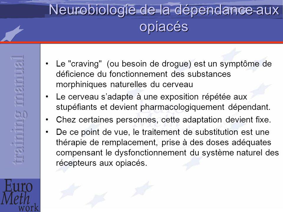 Neurobiologie de la dépendance aux opiacés Le craving (ou besoin de drogue) est un symptôme de déficience du fonctionnement des substances morphiniques naturelles du cerveau Le cerveau s'adapte à une exposition répétée aux stupéfiants et devient pharmacologiquement dépendant.
