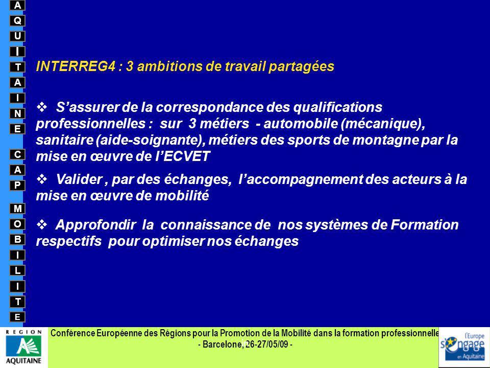 Conférence Européenne des Régions pour la Promotion de la Mobilité dans la formation professionnelle - Barcelone, 26-27/05/09 - A Q U I T A I N E C A
