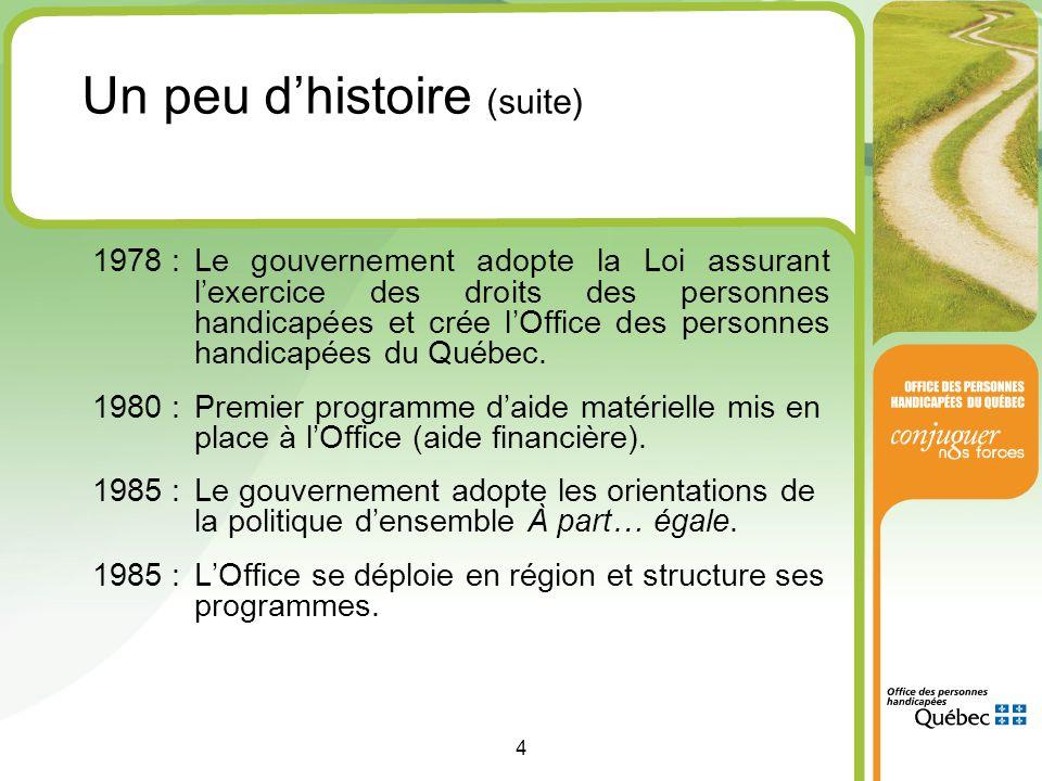 4 1978 :Le gouvernement adopte la Loi assurant l'exercice des droits des personnes handicapées et crée l'Office des personnes handicapées du Québec.