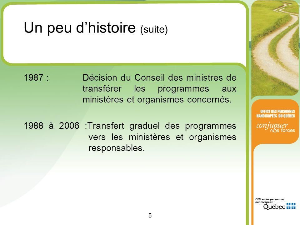 5 1987 :Décision du Conseil des ministres de transférer les programmes aux ministères et organismes concernés.