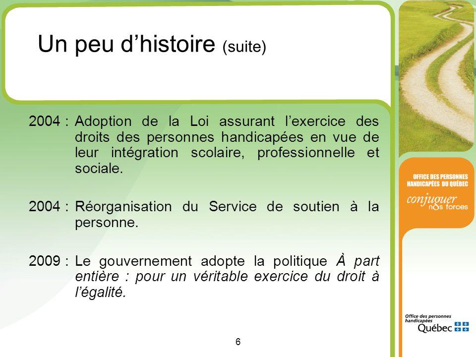 6 2004 :Adoption de la Loi assurant l'exercice des droits des personnes handicapées en vue de leur intégration scolaire, professionnelle et sociale.