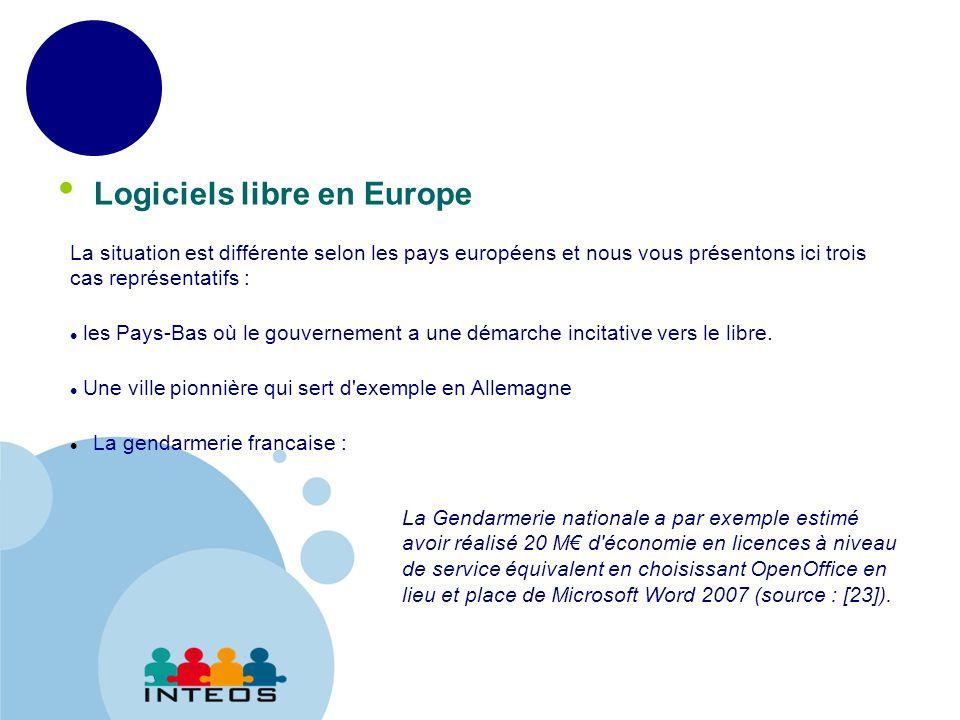 www.company.com Logiciels libre en Europe La situation est différente selon les pays européens et nous vous présentons ici trois cas représentatifs : les Pays-Bas où le gouvernement a une démarche incitative vers le libre.
